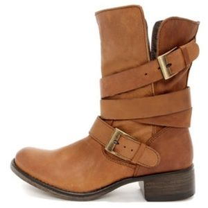 Brewzzer Cognac Leather Belted Mid-Calf Boots