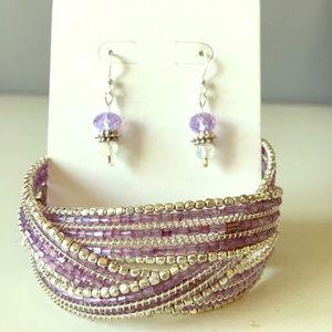 Beaded Cuff Bracelet & Earring Bundle