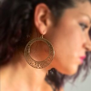 Large gold tribal pattern hoops