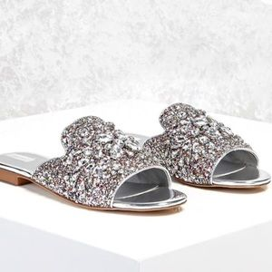 Forever21 rhinestone loafers size 8