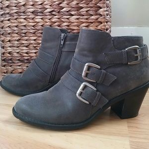 Ruff Hewn Gray Buckle Ankle Booties