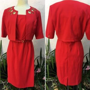 Studio 1 Red Dress w/ Cropped Jacket