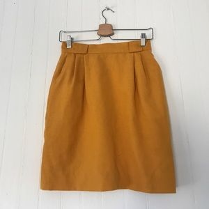Vintage Mustard Yellow Pleated Pencil Skirt