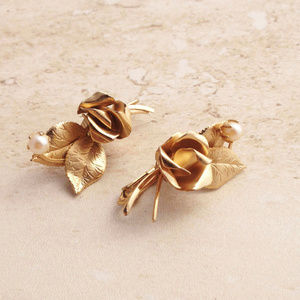 Classic 50's Gold Floral Earrings