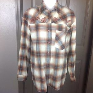 Vintage CHU Top Medium Button Down Shirt Plaid