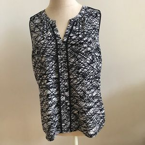 Calvin Klein black and white sleeveless blouse/top
