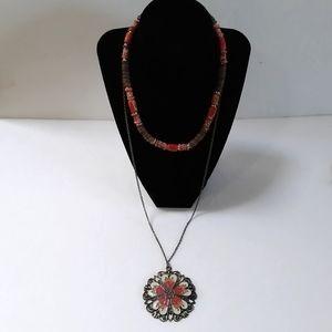 Boho Medallion Double necklace set