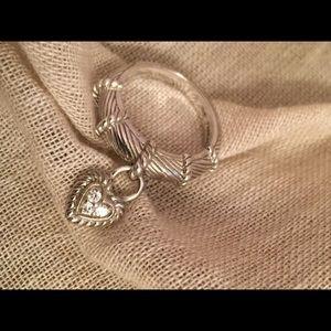 Judith Ripka Sterling Silver Heart Charm Ring