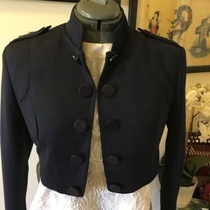 Navy blue military style cropped jacket