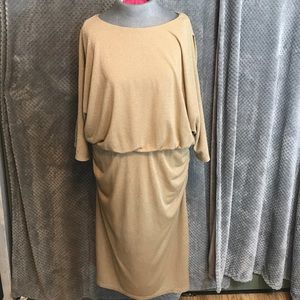 Cato metallic gold cold shoulder party dress