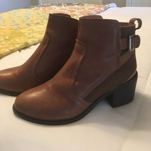 Brown leather and suede ankle boots