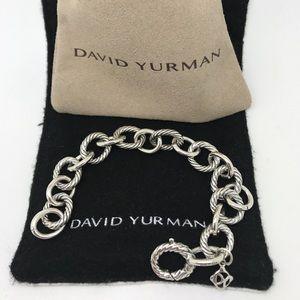 David Yurman Silver Medium Oval Link Bracelet 10mm