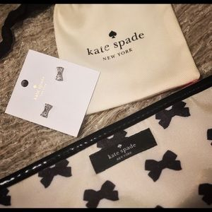 NWT Authentic Kate Spade bow earrings & makeup bag