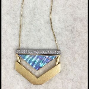 Madewell Brass Abalone Arrow Lariat Necklace