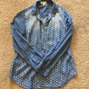 Anthropologie cloth & stone denim chambray top S