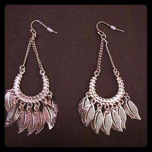 NWT FEATHER CHANDELIER EARRINGS HYPO ALLERGENIC