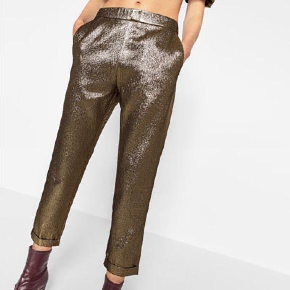 9fafb6c0 Zara Pants | Shiny Jacquard Trousers | Poshmark