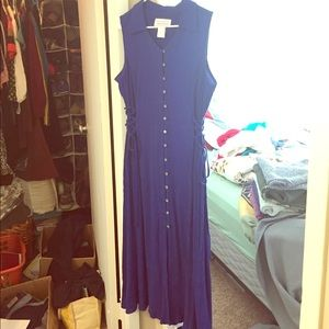 Romantic cobalt blue 90s vintage dress size 18W