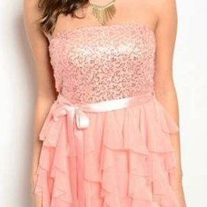Peach Sequin Dress