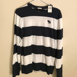 Abercrombie & Fitch Stripped Sweater Navy / White