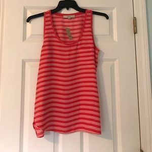 Loft pink striped tank top