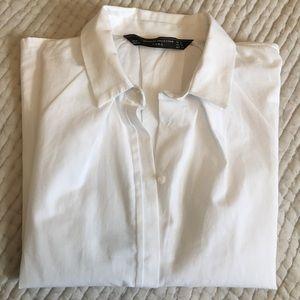 Zara Crisp Crop Cap Sleeve Hidden Buttons