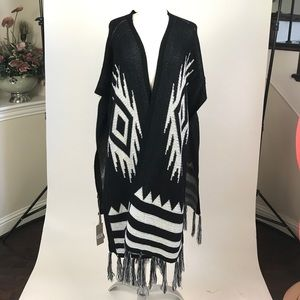 Long knitted poncho cardigan