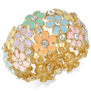 INC Gold-Tone multi Pastel Flower Stretch Bracelet