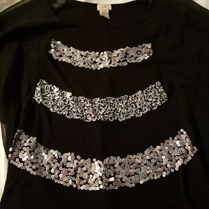 Black sheer top with silver sequins