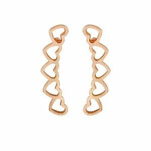 Rose Gold Heart Climber Earrings