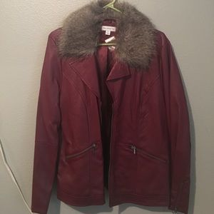 Brand new faux leather jacket removable fur collar