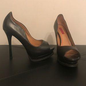 Black 5/48 Leather Stilettos Size 36