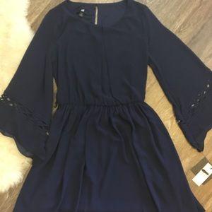 IZ Byer Blue Angel Sleeve Dress