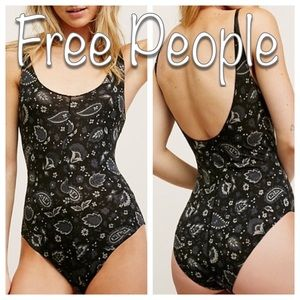 Free People scooped up printed bodysuit, NWT!