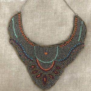 Zara multicolored beaded bib necklace