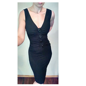 D&G Black Button Ruched Wool Fitted Pencil Dress
