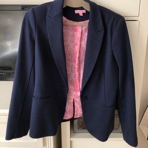 Lilly Pulitzer navy leighton blazer with pink trim