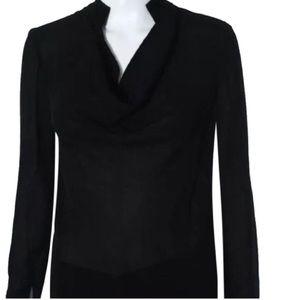 SW3 Bespoke silk black top Sz 6 nwt