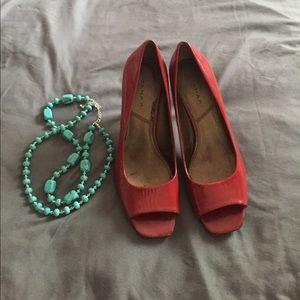 Tahari Red Patent Leather Peep Toes