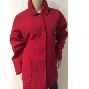 Red Quilted Coat Size Large