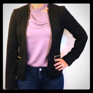 Women's Black Express Blazer with gold Zippers