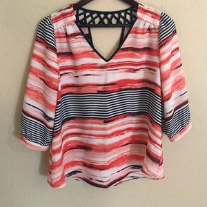 3/4 length sleeve colorful blouse
