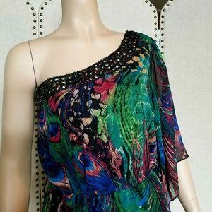 Bisou Bisou Jeweled  One Shoulder Dress