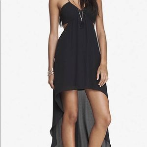 Black high low dress with side cutout