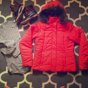 Bright cherry Columbia jacket