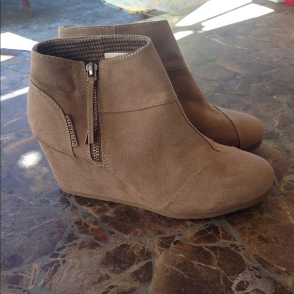 fd6a1a77630 Faux suede ankle platform boots.