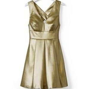 BR Monogram Gold Fit and Flare Dress, Sz 2 or 4