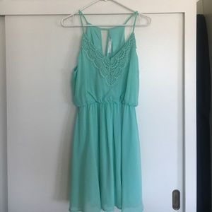 Lush mint chiffon and lace mini dress - Large