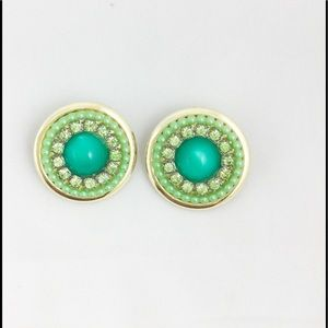 Vintage Green Beaded Clip On Earings