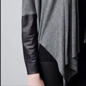 Zara Black Cardigan w/ Leather Sleeves